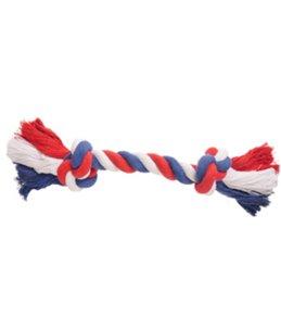 Hs katoen soccer knoopbeen 2 knopen rood/wit/blauw m 30cm