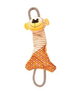 Elliot aap + touw oranje 44cm