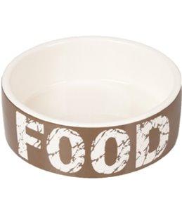 Eetpot hond kyra keramisch taupe/wit 12,5cm 280ml