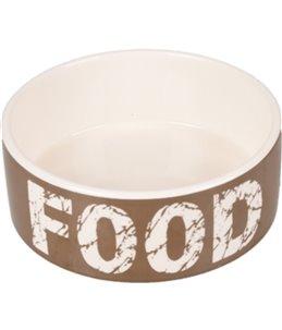 Eetpot hond kyra keramisch taupe/wit 16cm 770ml