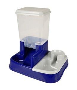 Duo max voer+waterbak blauw