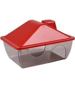 Hamsterhuis rigo kleur rood/ transparant
