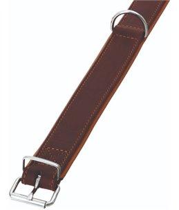 Rondo halsband gestikt bruin 42cm24mm