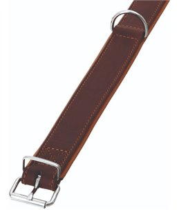 Rondo halsband gestikt bruin 62cm32mm