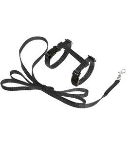 Asp kittentuig+lijn zwart 120cm10mm