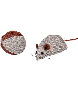 Ps juns muis en bal grijs 7,8 cm