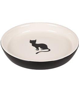 Eetschaaltje kat nala keramisch rond zw-wit 180ml 15cm