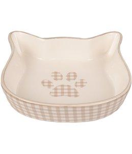 Eetpot kat mylo keramisch kattengezicht beige-wit 220ml12,5cm