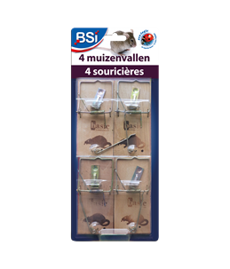 4 houten muizenvallen
