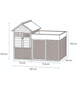 Kippenhok pixy 199,5x93x146cm