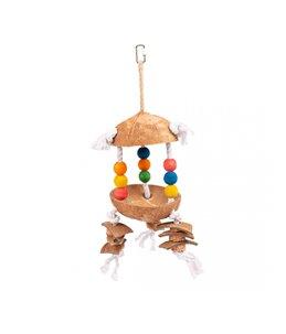 Kleurrijk speeltje m cocos en blokjes op touw