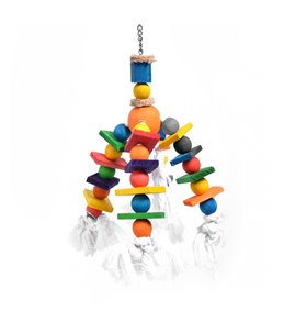 Bird Toy with Colourful Cubes and Rope