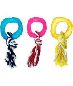 Tpr ring met touw 8cm assortiment