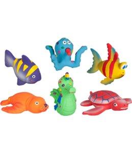 Latex grappige zeedieren 11cm ass display ass. 6 verschillende speelgoedjes